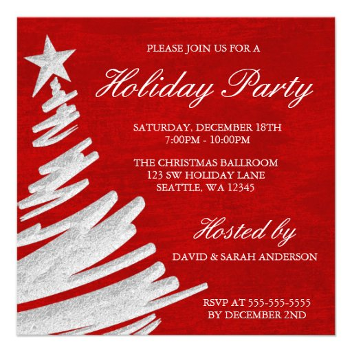 Red and Silver Christmas Tree Holiday Party Personalized Invitations