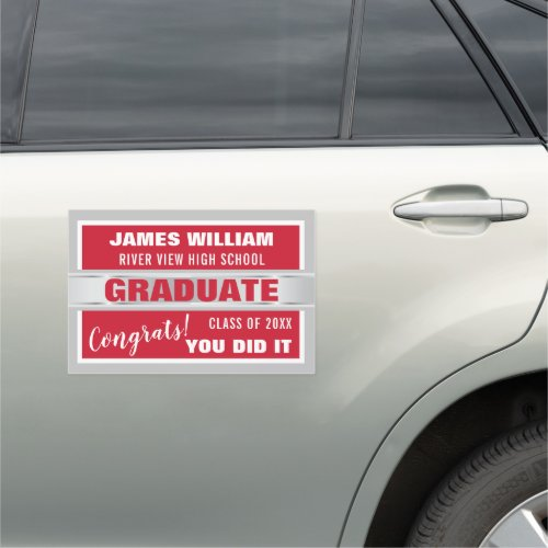 Red And Silver Congrats Graduate 2020 Car Magnet