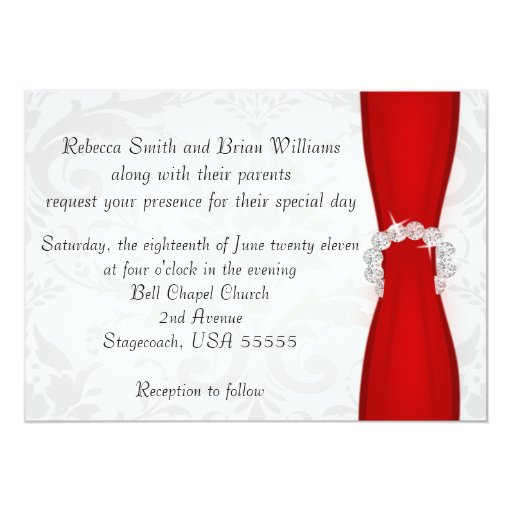 Red and Silver Damask Diamond Bow Wedding 5x7 Paper Invitation Card