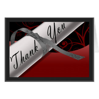 Red and Silver Diploma Thank You Card