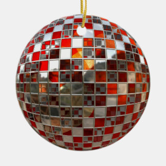 Red and Silver Disco Ball Mirror Xmas Ornament