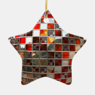 Red and Silver Disco Mirror Star Xmas Ornament