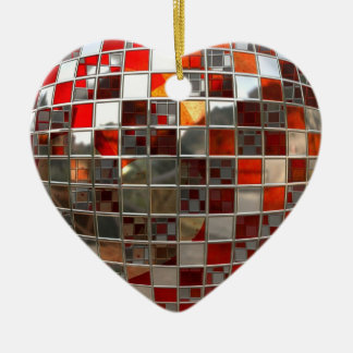 Red and Silver Disco Mirrors  Xmas Heart Ornament
