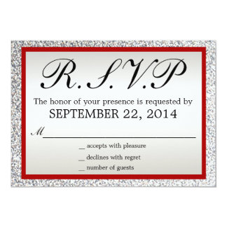Red and Silver - Elegant Glitter Wedding RSVP Card