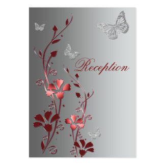 Red and Silver Floral Butterflies Reception Card Large Business Card
