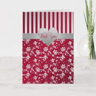 Red and Silver Floral Hearts Thank You Card card