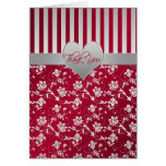 Red and Silver Floral Hearts Thank You Card Greeting Card
