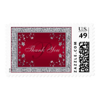 Red and Silver Floral Monogram Wedding Thank You Postage
