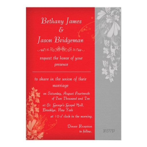 Red And Silver Wedding Invitations: Red And Silver Floral Motif Wedding Invitation