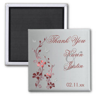 Red and Silver Floral Wedding Favor Magnet