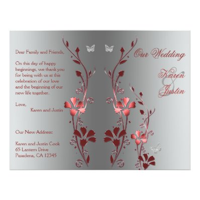 Red and Silver Floral Wedding Program