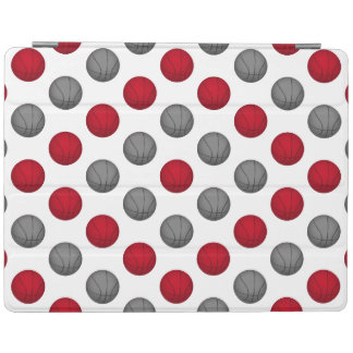 Red and Silver / Gray Basketball Pattern iPad Cover