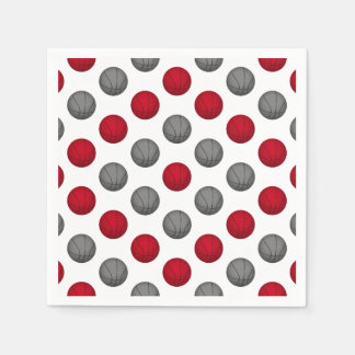 Red and Silver / Gray Basketball Pattern Paper Napkin