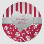 "Red and Silver Heart 1.5"" Round Wedding Sticker"