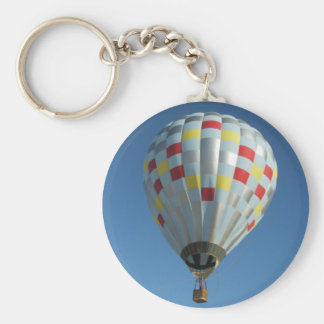 red and silver hot air balloon key chain