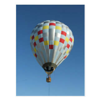 red and silver hot air balloon postcard