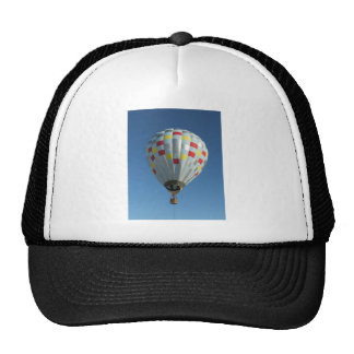 red and silver hot air balloon trucker hat