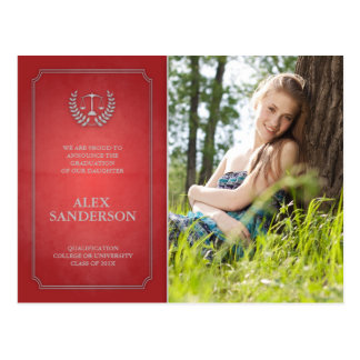 Red and Silver Law School Graduation Announcement Postcard