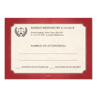Red and Silver Legal/Law School Graduation RSVP 3.5x5 Paper Invitation Card