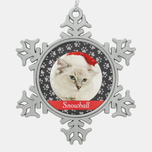 Red and Silver Monogram  Paw Prints Pet Cat Photo Snowflake Pewter Christmas Ornament