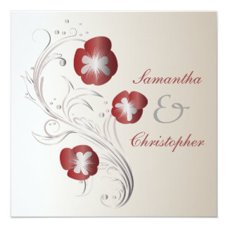 Red and Silver Pansy Wedding 5.25x5.25 Square Paper Invitation Card