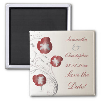 Red and Silver Pansy Wedding Save the Date Magnet