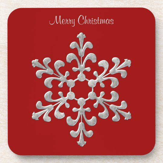 Red and Silver Snowflake Coasters