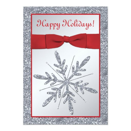 Red and Silver Snowflake Holiday Party Invitation