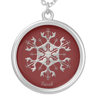 Red and Silver Snowflake Necklace