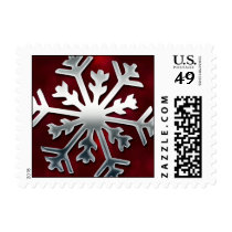 Red and Silver Snowflake Postage