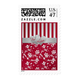 """Red and Silver """"True Love"""" Wedding Postage"""