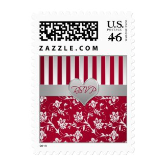 Red and Silver Wedding RSVP Postage stamp