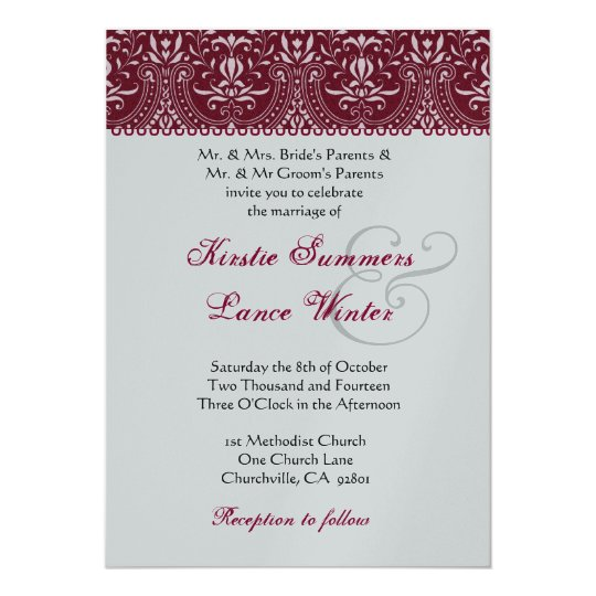 Red  and Silver White  Arch Damask Wedding Card