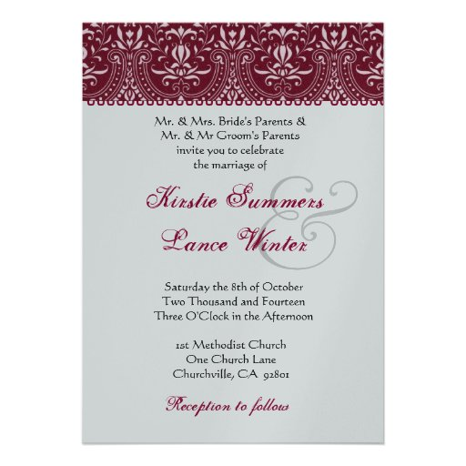 Red  and Silver White  Arch Damask Wedding Personalized Invitation