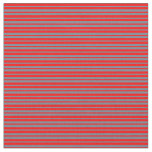 [ Thumbnail: Red and Slate Gray Colored Lines Pattern Fabric ]