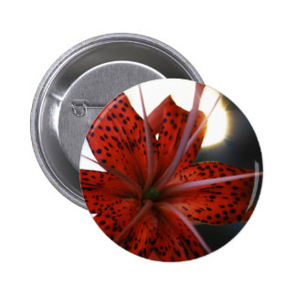 Red and Spotted Black Flower Pinback Buttons