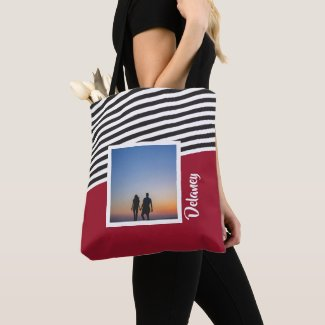 Red and Striped Pattern Personalized Photo Tote Bag