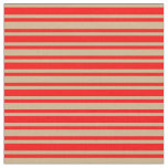 [ Thumbnail: Red and Tan Colored Lines Fabric ]