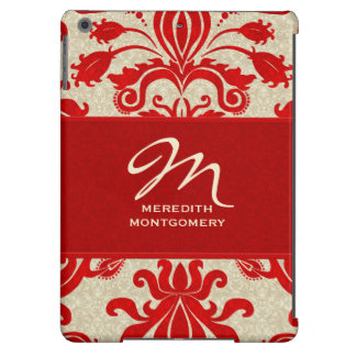 Red and Taupe Damask | Custom Case Case For iPad Air