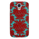 red and teal aqua bold intricate damask samsung galaxy s4 case