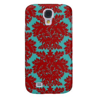 red and teal aqua bold intricate damask galaxy s4 covers