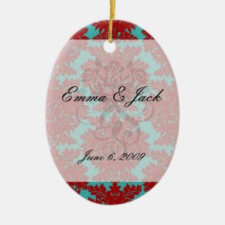 red and teal aqua bold intricate damask ceramic ornament