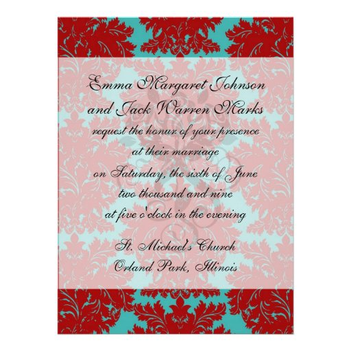 red and teal aqua bold intricate damask personalized invitations
