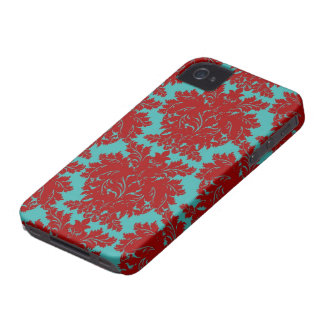 red and teal aqua bold intricate damask iPhone 4 cover