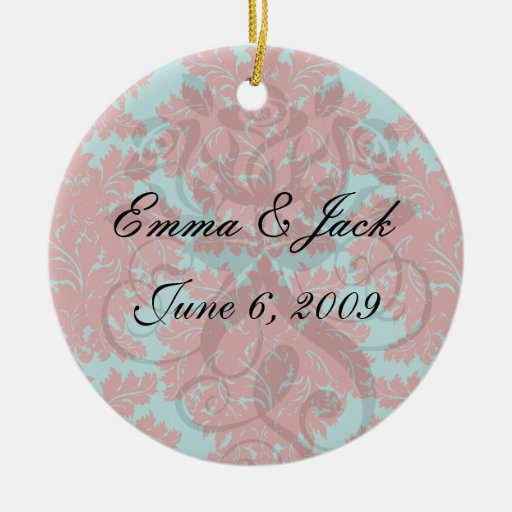 red and teal aqua bold intricate damask christmas ornaments