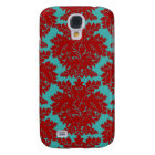 red and teal aqua bold intricate damask samsung s4 case
