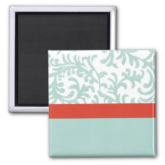 Red and Teal Blue Floral Damask 2 Inch Square Magnet