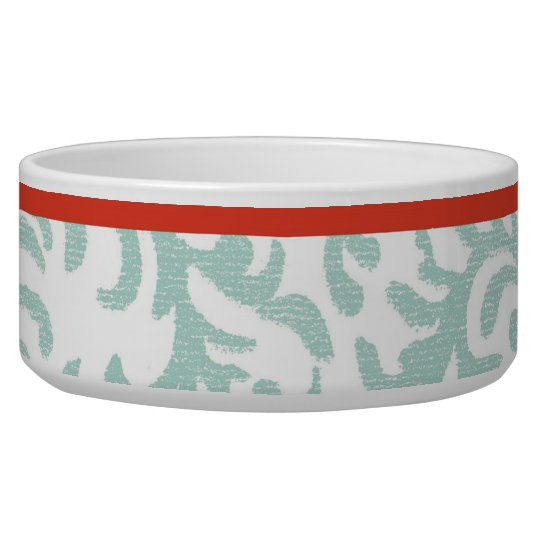 Red and Teal Blue Floral Damask Bowl