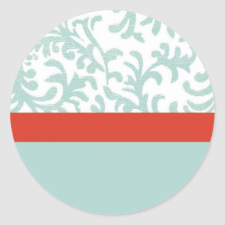 Red and Teal Blue Floral Damask Round Sticker