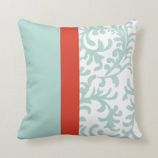Red and Teal Blue Floral Damask Throw Pillow